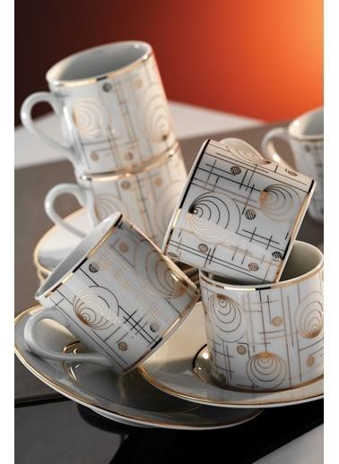 Kütahya Porselen Rüya 7044 Desen Kahve Fincan Takımı Renkli